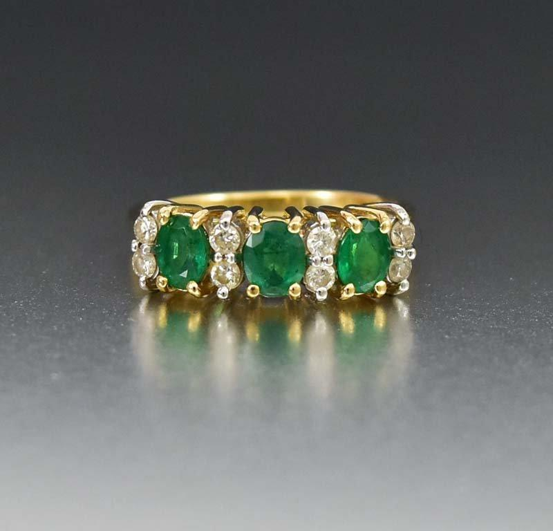 Emerald & Diamond 14K Gold Anniversary Band Ring - Boylerpf