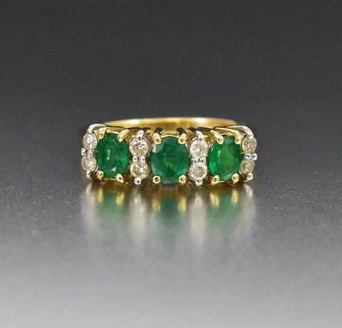 Emerald & Diamond 14K Gold Anniversary Band Ring