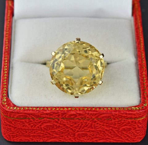 1960s Vintage Gold Citrine Ring 20.5 CTW