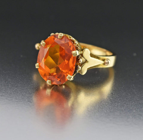 Heavy 18K Gold Vintage Yellow Sapphire Ring