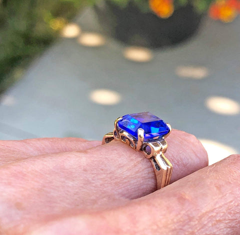 3rd Payment Art Deco 10K Gold Simulated Blue Sapphire Ring