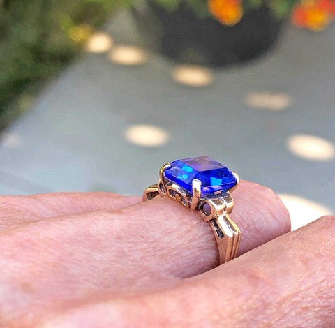 Vintage Art Deco 10K Gold Simulated Blue Sapphire Ring - ON HOLD