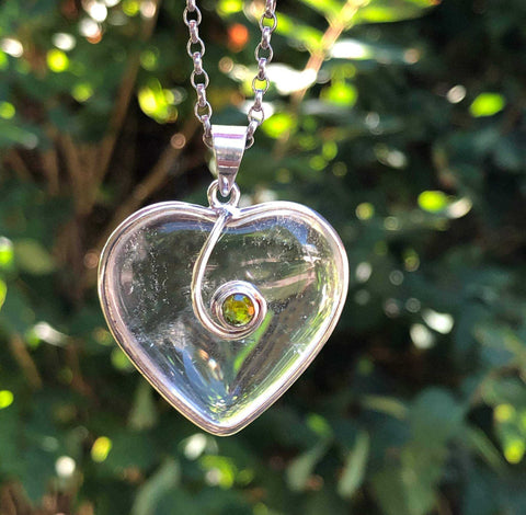 Rock Crystal Heart Peridot Sterling Silver Necklace