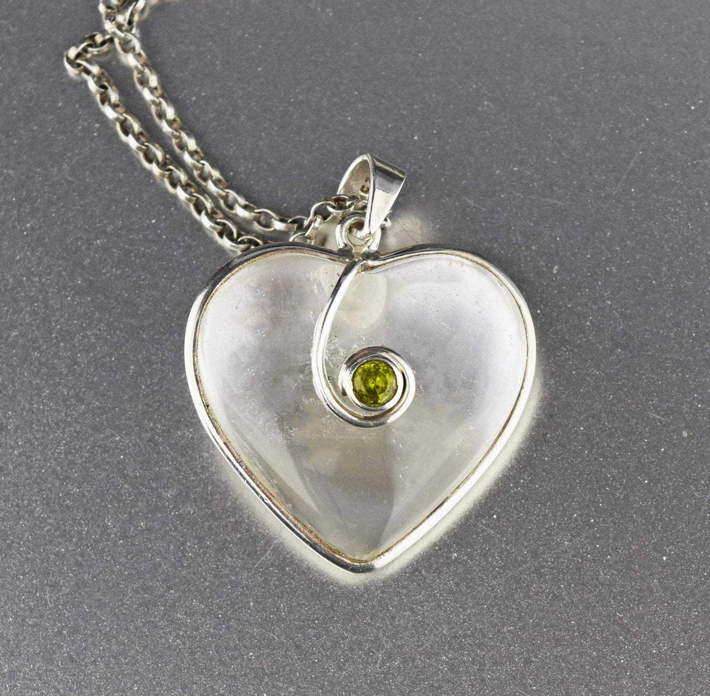 Rock Crystal Heart Peridot Sterling Silver Necklace - Boylerpf