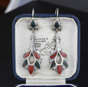 Antique Victorian Sterling Silver Scottish Agate Pebble Earrings c1890