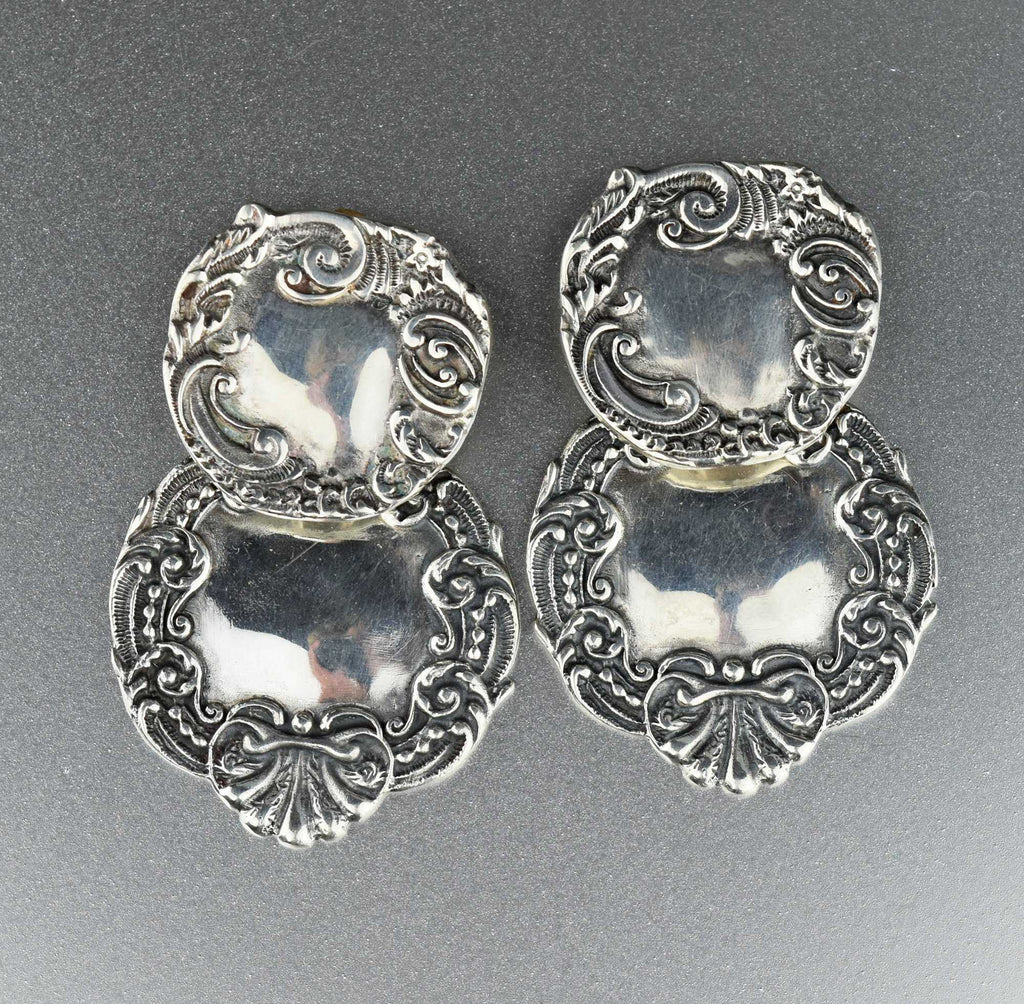 Large Silver Luggage Tag Earrings, Victorian Style - Boylerpf