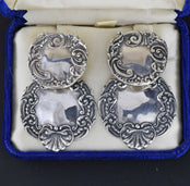 Large Silver Luggage Tag Earrings, Victorian Style