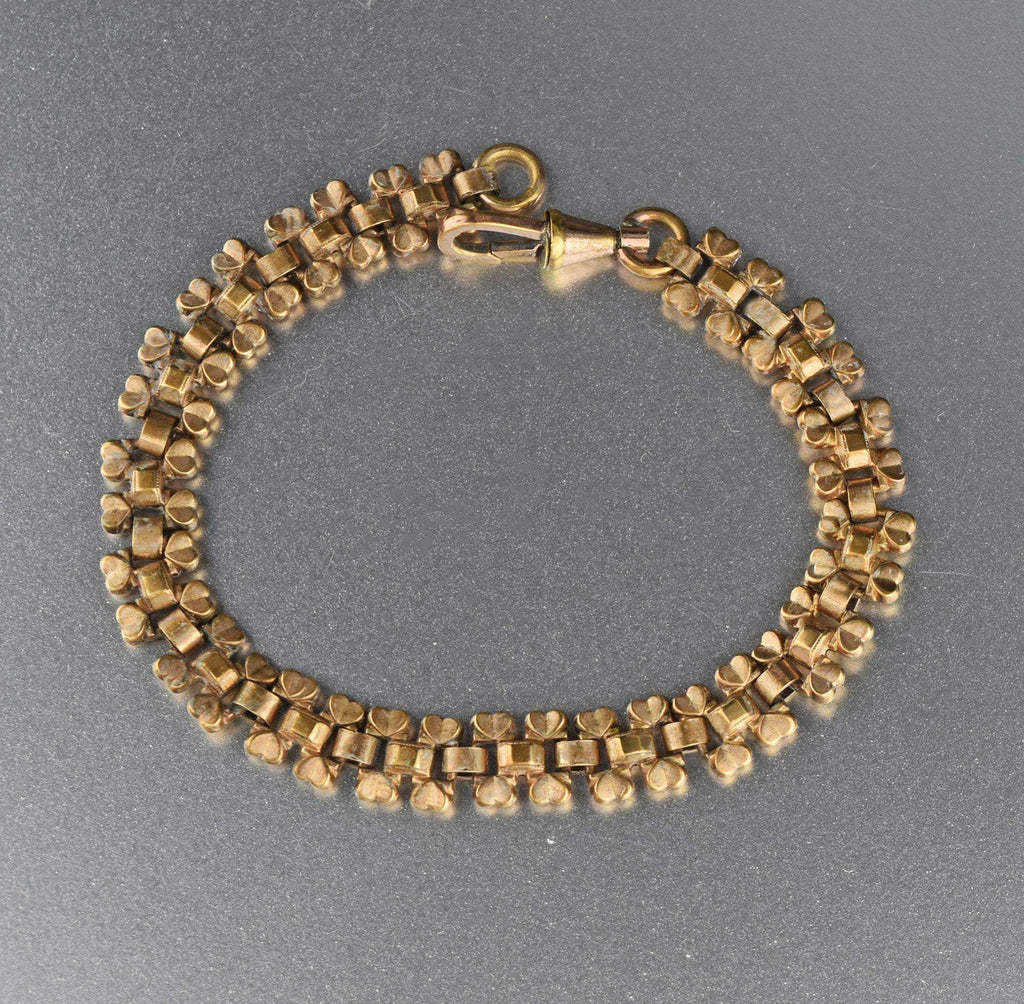 Antique Gold Heart Edwardian Book Chain Bracelet - Boylerpf