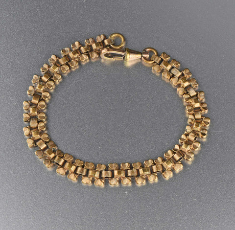 Antique Gold Heart Edwardian Book Chain Bracelet