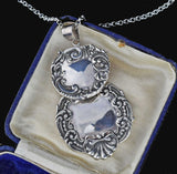 Sterling Silver Repousse Luggage Tag Pendant Necklace - Boylerpf