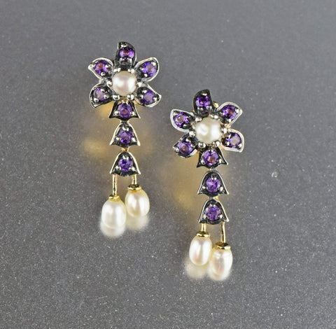 14K Gold and Silver Amethyst  Flower Earrings