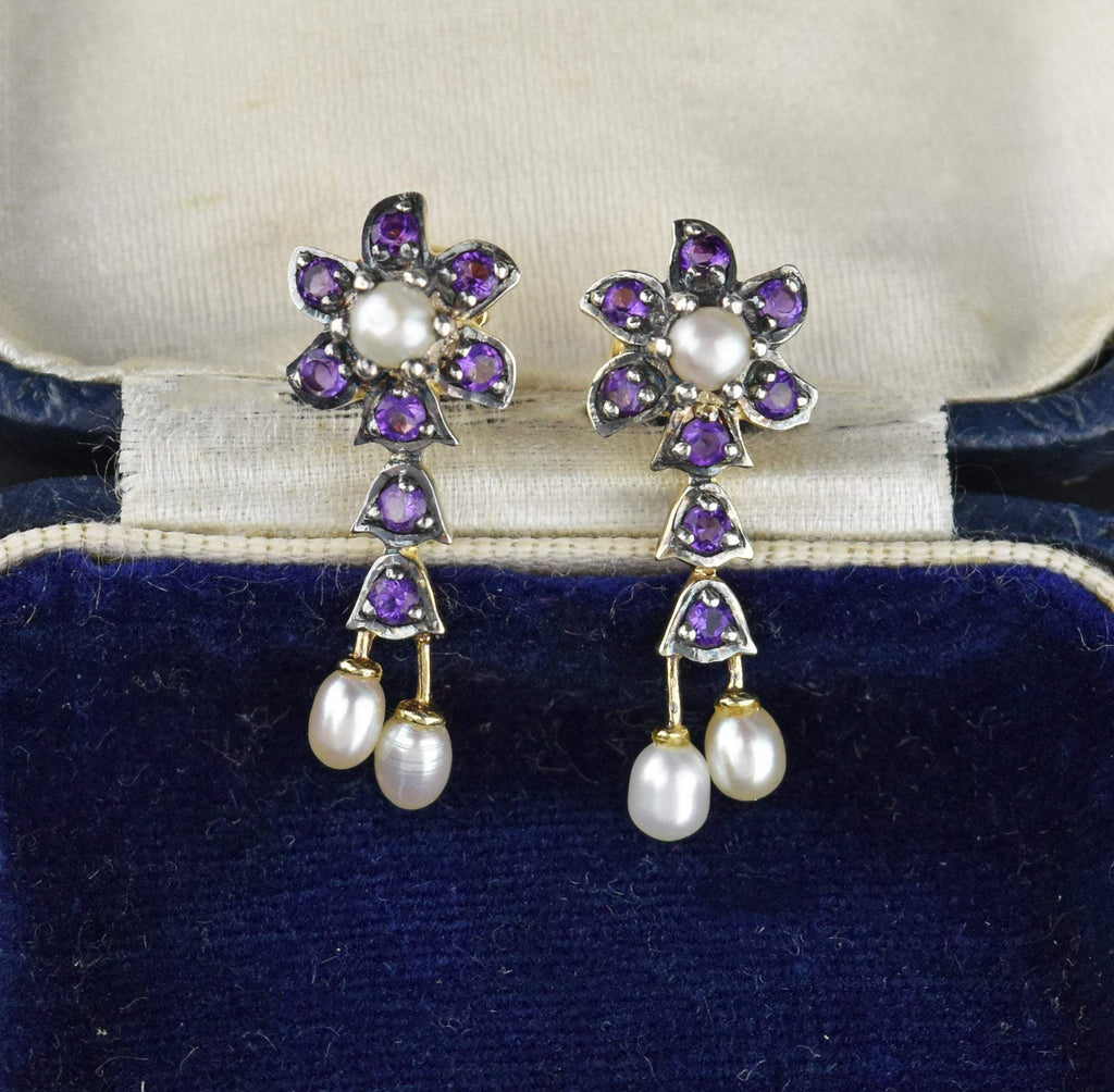 14K Gold and Silver Amethyst  Flower Earrings - Boylerpf