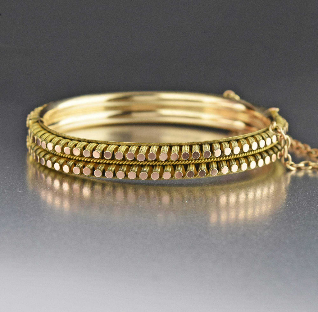 Vintage Yellow and Rose Gold Bangle Bracelet - Boylerpf