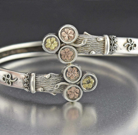 Vintage 9K Gold and Silver Victorian Bangle Bracelet