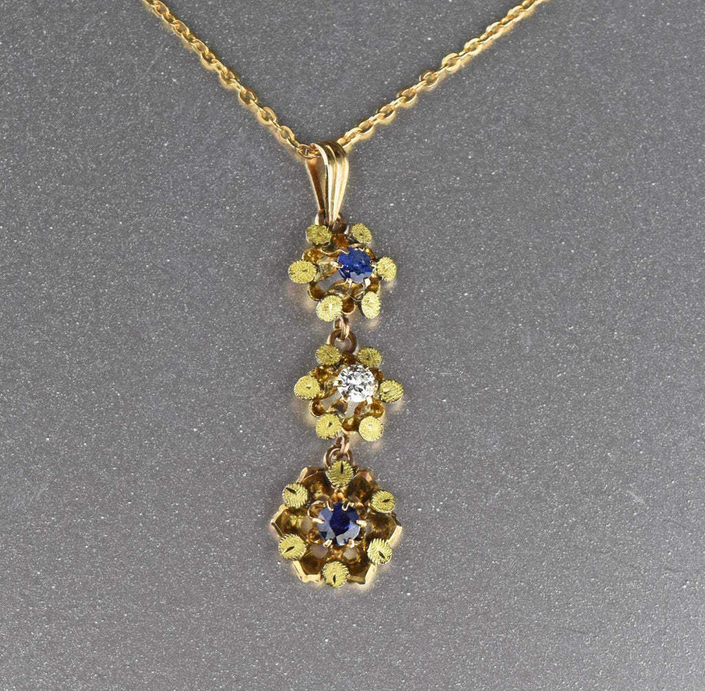 Edwardian Diamond and Sapphire Lavaliere Necklace - Boylerpf