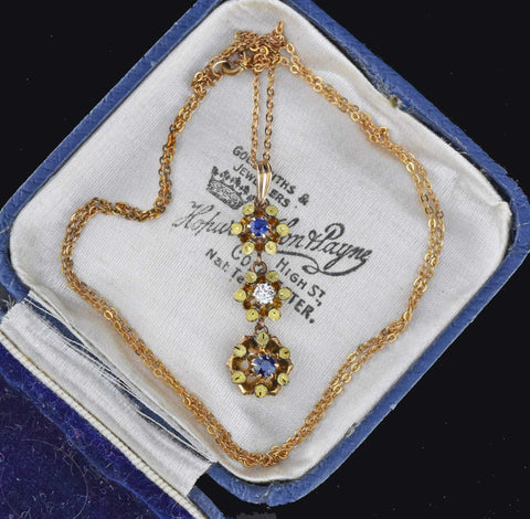 Edwardian Diamond and Sapphire Lavaliere Necklace