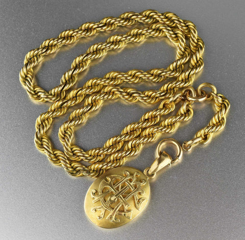 Vintage French Rope Y Chain Necklace for Locket