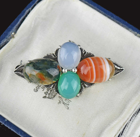 Vintage Scottish Silver Moss Agate Brooch
