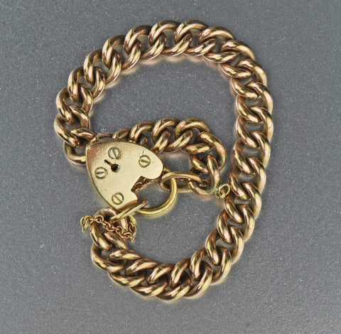 Gold Heart Padlock Curb Chain Link Bracelet