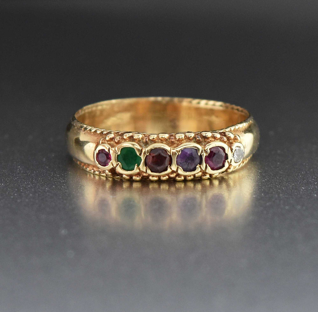 Wide Gold REGARD Gemstone Ring Band Acrostic