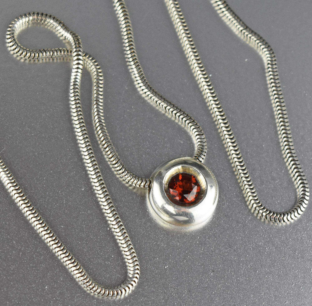 Garnet Slider Charm Snake Chain Necklace - Boylerpf