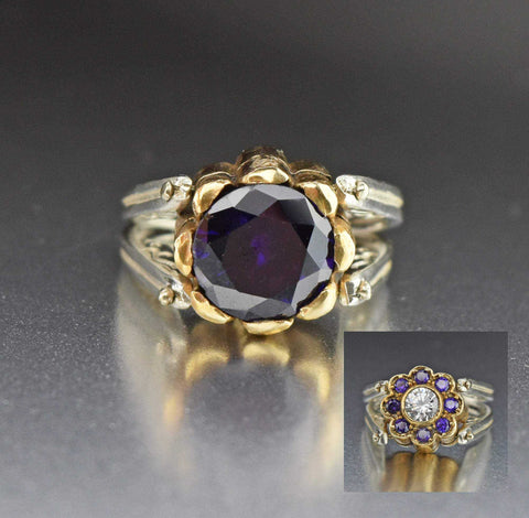 14k Gold Diamond Sapphire Feather Ring 1900s