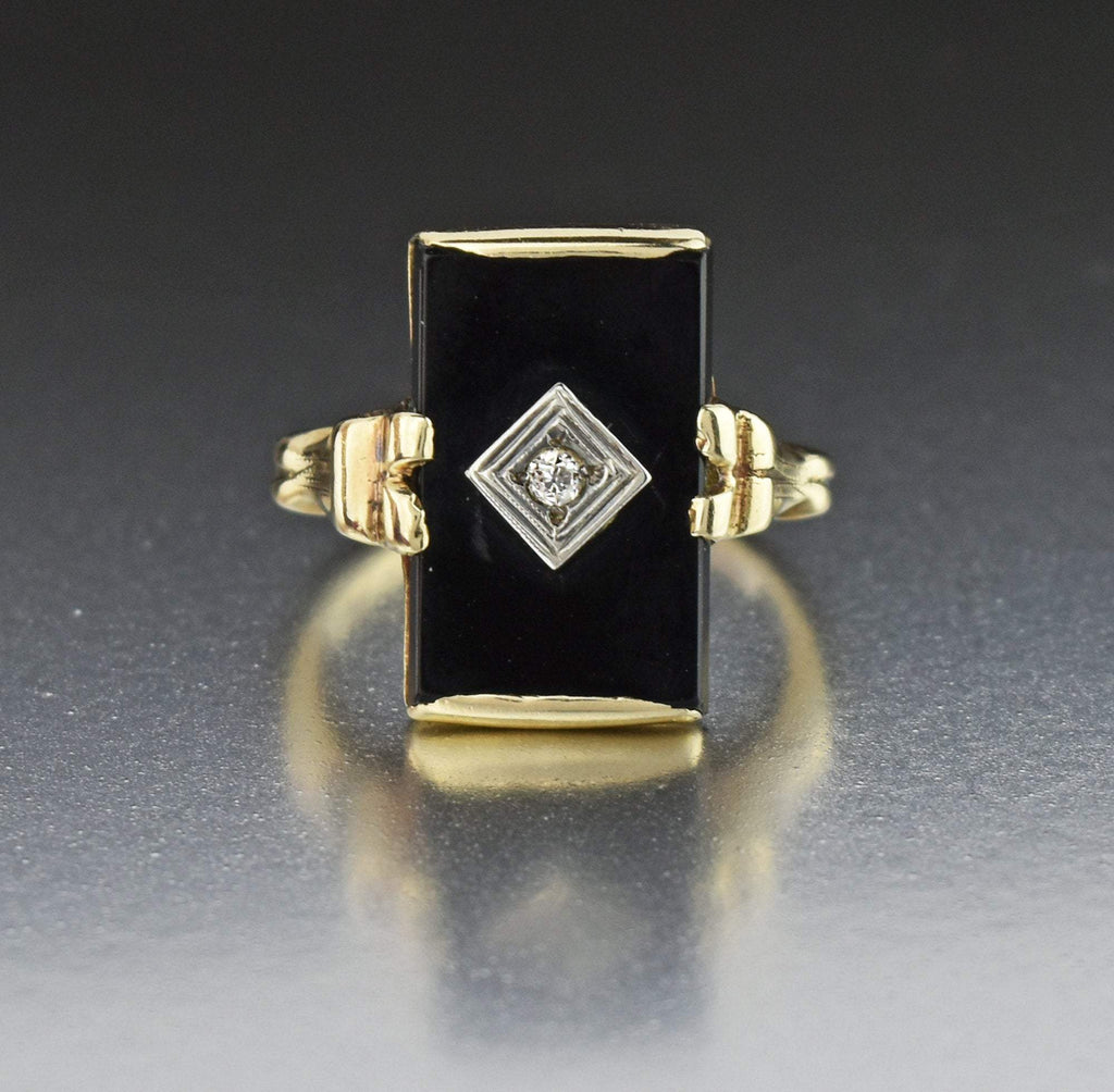 10K Art Deco Antique Gold Diamond Onyx Ring - Boylerpf
