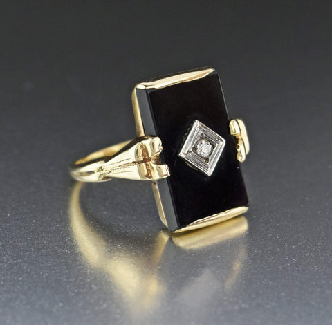 10K Art Deco Antique Gold Diamond Onyx Ring