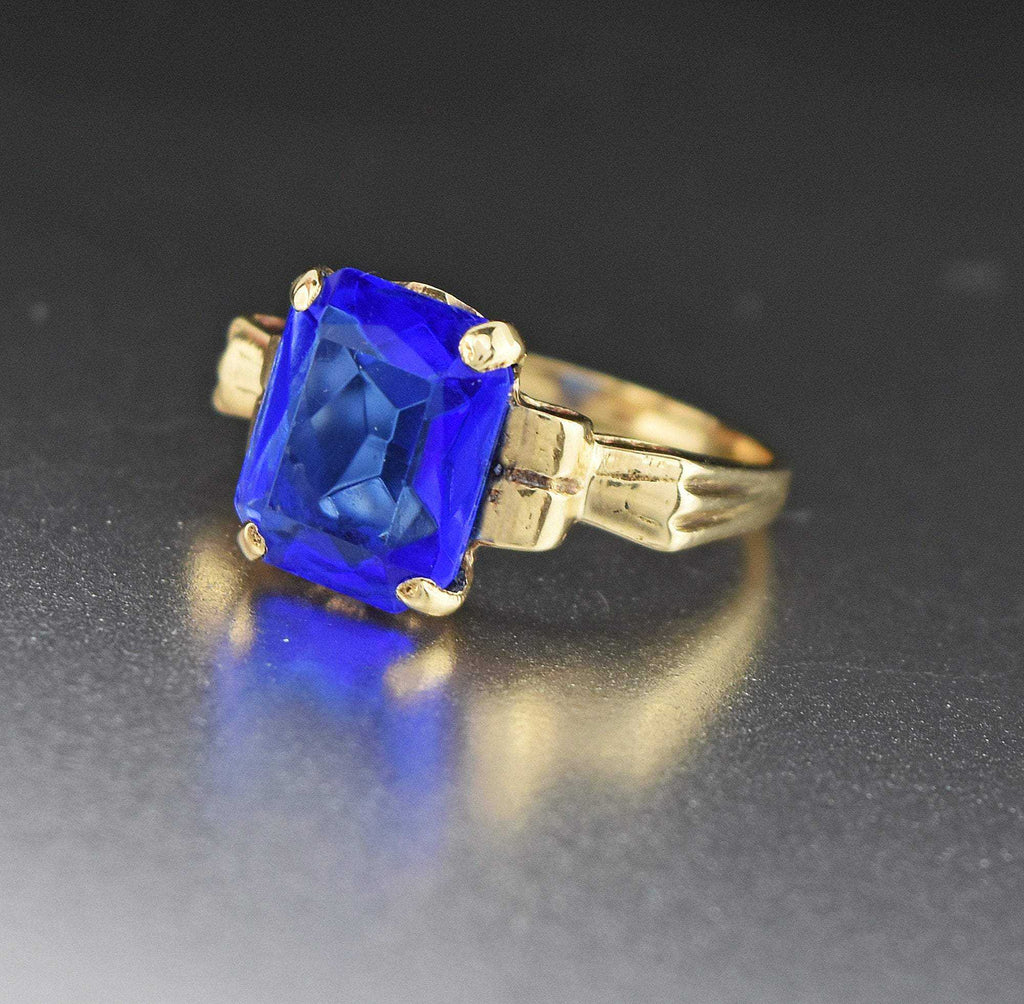 Vintage Art Deco 10K Gold Simulated Blue Sapphire Ring - ON HOLD - Boylerpf