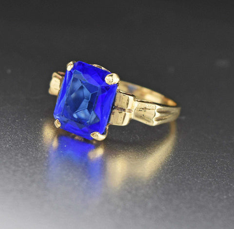Final Payment Art Deco 10K Gold Simulated Blue Sapphire Ring