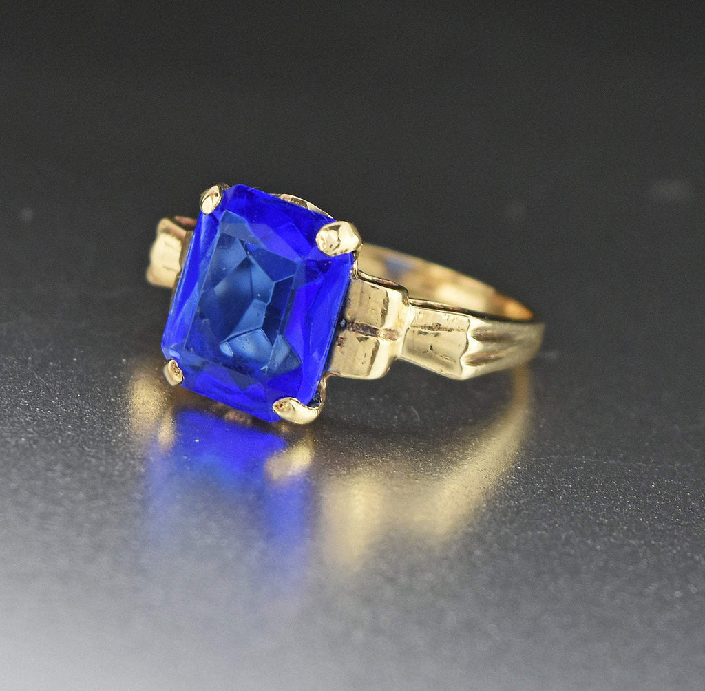 3rd Payment Art Deco 10K Gold Simulated Blue Sapphire Ring - Boylerpf