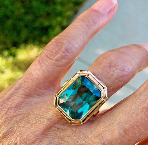 Antique French 14K Rose Gold Sapphire Ring GIA Cert