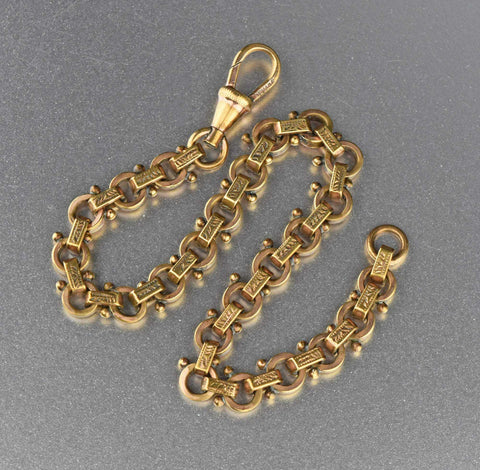 Vintage Gold Filled Engraved Circle Watch Chain Bracelet