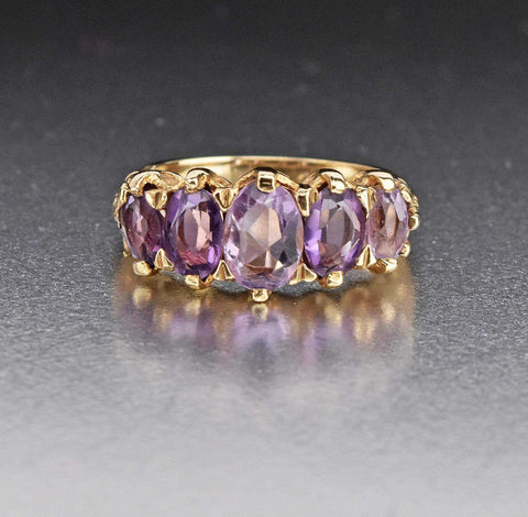 14K Yellow Gold Vintage Tanzanite Half Eternity Ring