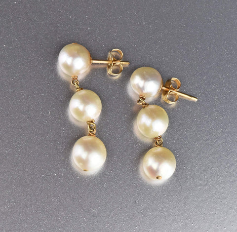 14K Gold Cultured Pearl Triple Dangle Earrings