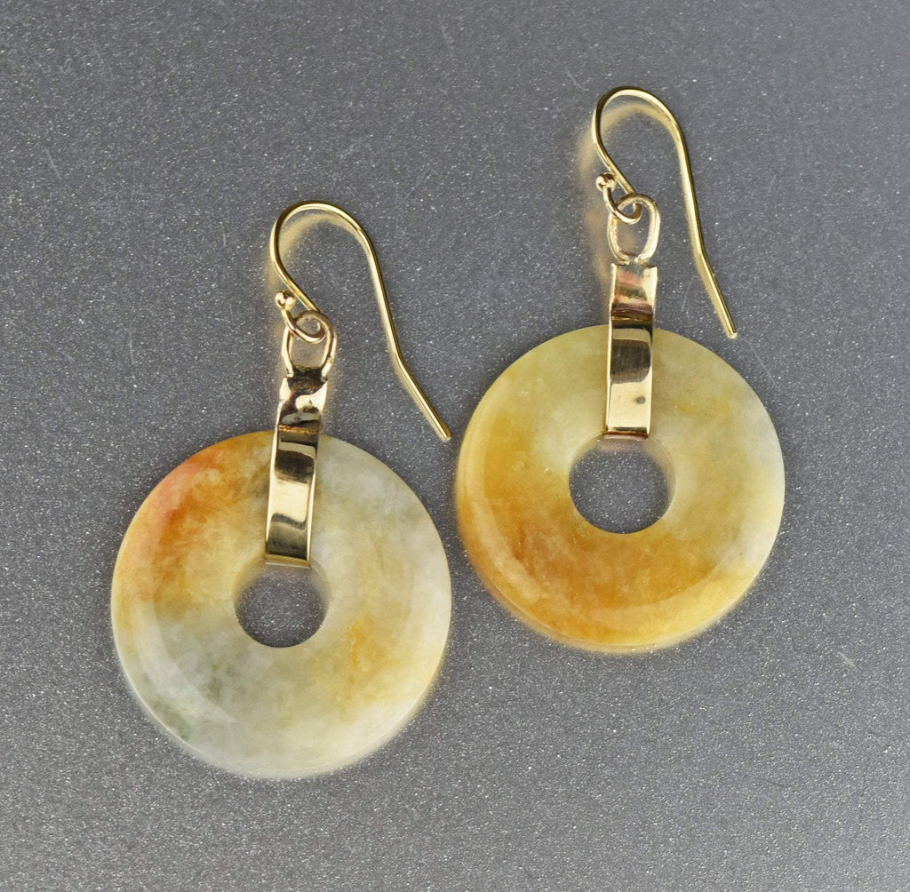 12K Gold Vintage Hardstone Jade Earrings - Boylerpf