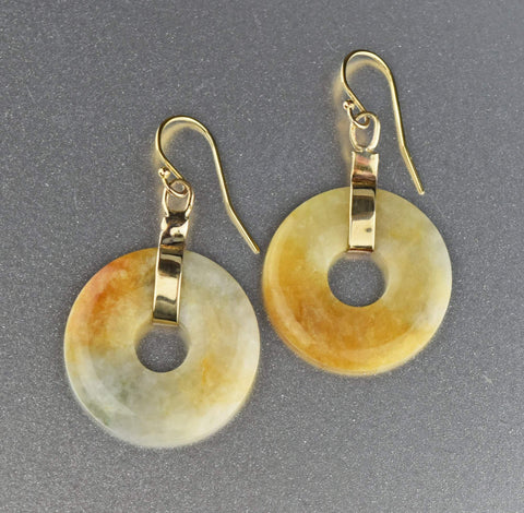 12K Gold Vintage Hardstone Jade Earrings