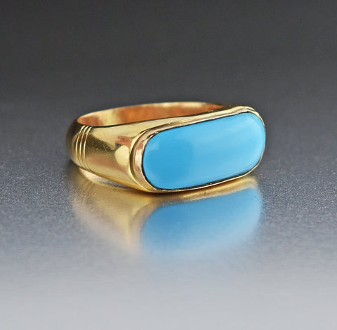 18K Gold Vintage Turquoise Ring