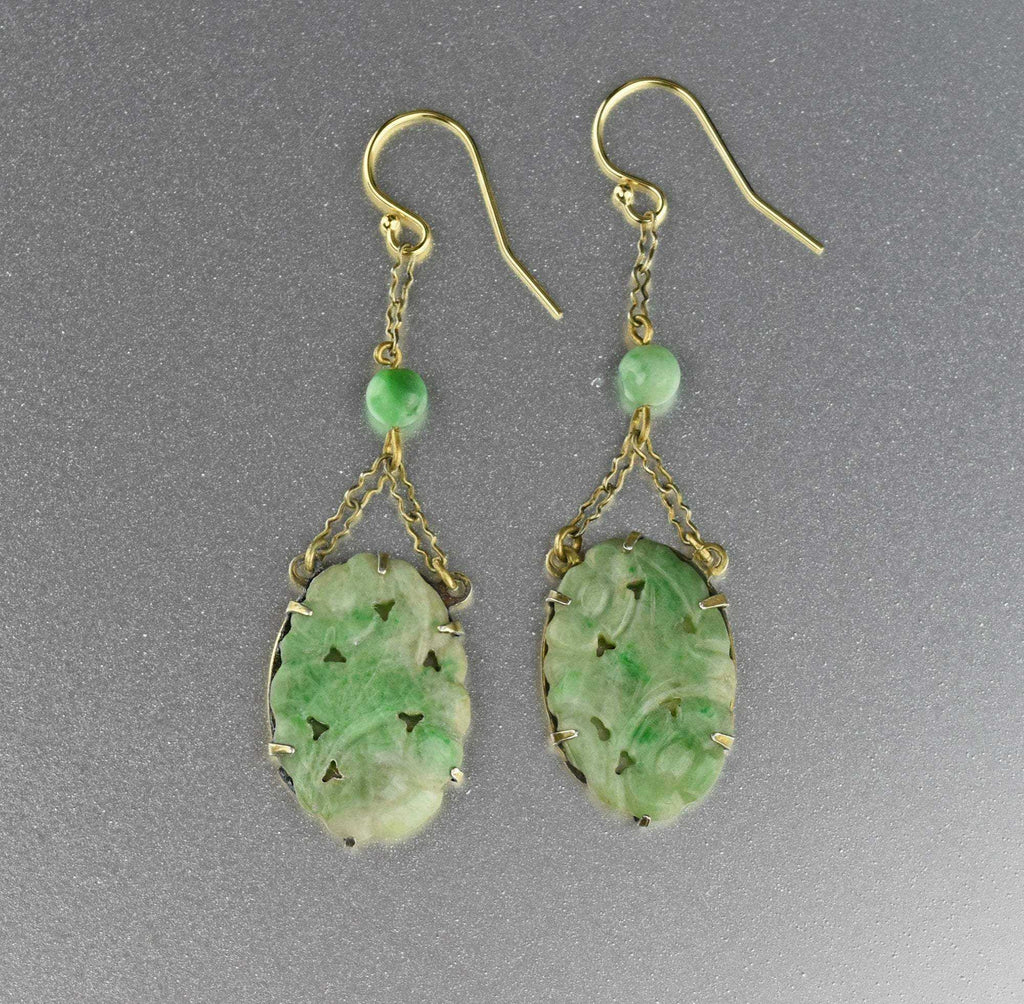Antique Gold Carved Green Jade Earrings - Boylerpf