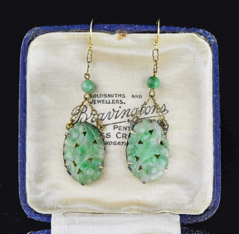 Antique Gold Carved Green Jade Earrings