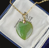 14K Gold Vintage Jade Heart Pendant necklace - Boylerpf