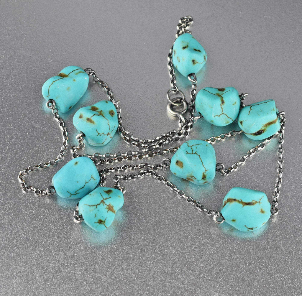 Art Deco Long Turquoise Nugget Necklace - Boylerpf