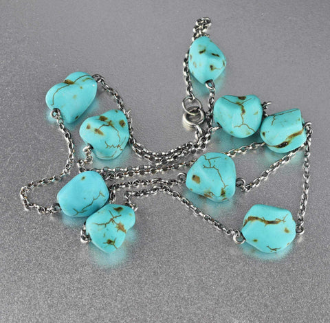 Art Deco Long Turquoise Nugget Necklace