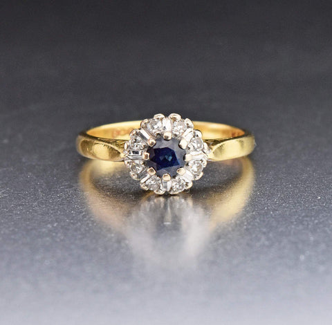 18K Vintage Sapphire Diamond Cluster Engagement Ring