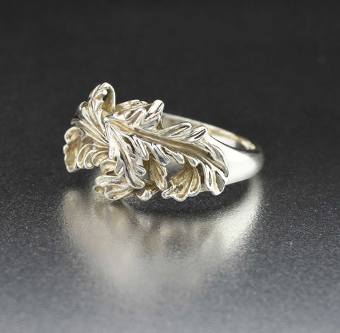 Art Nouveau Style Sterling Silver Leaf Ring