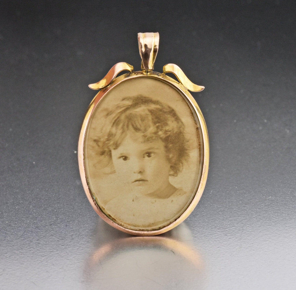 Antique 9K Double Sided Glass Locket  1900s - Boylerpf