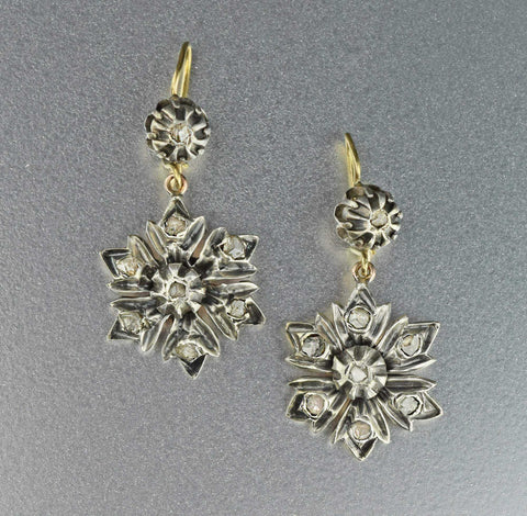 Vintage Antique Rose Cut Diamond Earrings,Georgian