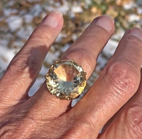 Heavy 14K Gold Citrine Ring 1960s