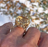 Heavy 14K Gold Citrine Ring 1960s - Boylerpf