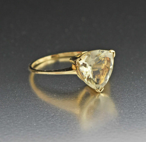Vintage 10K Gold Triangle Cut Citrine Ring